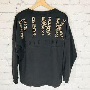 Victoria's Secret PINK Leopard Print Logo LS Top S